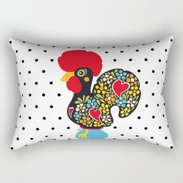 Famous Rooster of Barcelos 01 | Lucky Charm & Polka Dots Rectangular Pillow
