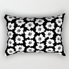 Linocut botanical nature floral flower art nursery black and white decor newborn Rectangular Pillow