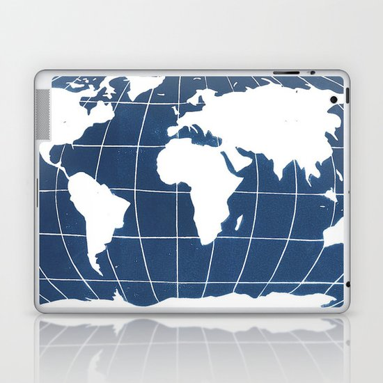Navy Map of the World Laptop & iPad Skin