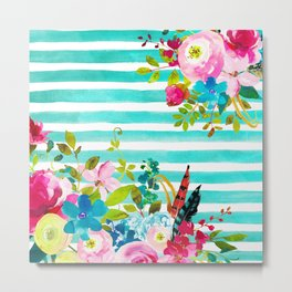 Flowers & Stripes 6 Metal Print