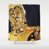 c3po Shower Curtains featuring C3PO by Laura-A