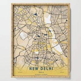 New Delhi Yellow City Map Serving Tray