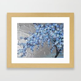 blue cherry blossom with silver grey gray white tree trees japanese japan beautiful prints Framed Art Print
