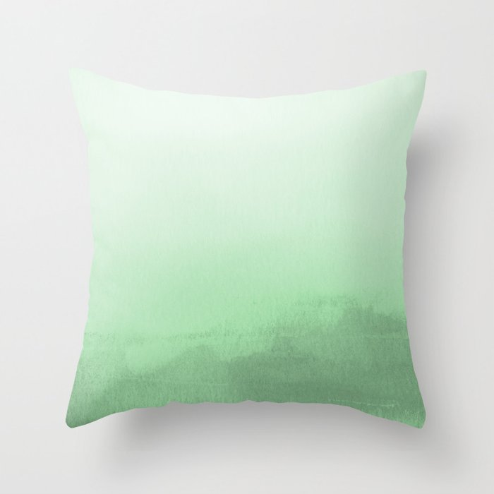 Pastel Melon Green Watercolor Ombre Gradient Blend Pairs to 2020 Color of the Year Neo Mint Throw Pillow