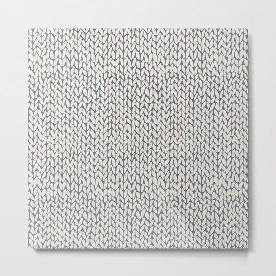 Hand Knit Grey Metal Print
