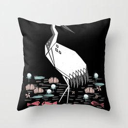 Crane bird art printmaking screenprint giclee by andrea lauren Throw Pillow