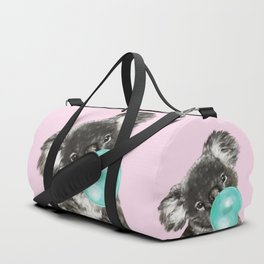 Playful Koala Bear with Bubble Gum in Pink Duffle Bag