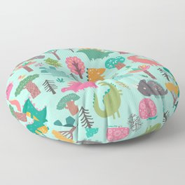 Dinosaurs in the woods pastel green pattern Floor Pillow