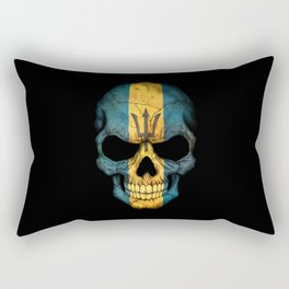 Dark Skull with Flag of Barbados Rectangular Pillow