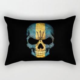 Dark Skull with Flag of Barbados Rectangular Pillow