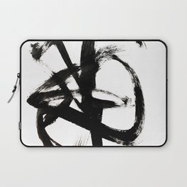 Brushstroke 4 - a simple black and white ink design Laptop Sleeve
