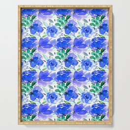 Big Blue Watercolour Painted Floral Pattern Serving Tray
