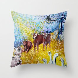 Farm Animals Protected by Saint Brigid of Kildare Throw Pillow