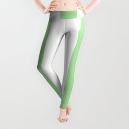 Granny Smith apple green - solid color - white vertical lines pattern Leggings