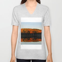 Autumn Sunset Reflection at the Moosehorn Unisex V-Neck