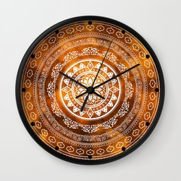 'Golden Destiny' Gold Orange & White Flower Of Life Boho Mandala Design Wall Clock