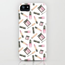Watercolor beauty product pattern iPhone Case