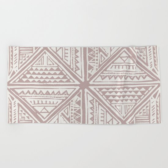 Simply Tribal Tile in Red Earth on Lunar Gray Beach Towel