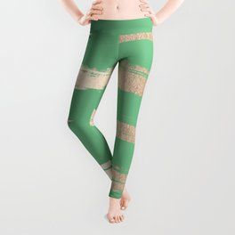 Abstract Paint Stripes Gold Tropical Green Leggings