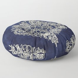 Cream Floral Moroccan Pattern on Deep Indigo Ink Floor Pillow