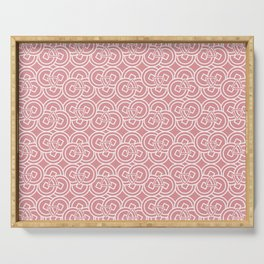 Ancient Chinese Money Stock Circle Geo Pattern Dusty Pink BG Serving Tray