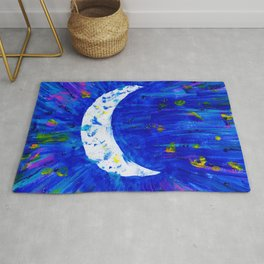 Glitter Crescent Moon Phase Rug