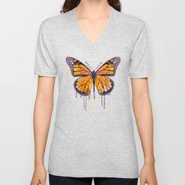 Monarch Butterfly watercolor Unisex V-Neck