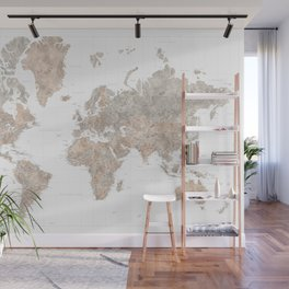 """Highly detailed watercolor world map, taupe and grey, """"Abey"""" Wall Mural"""