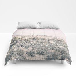 Mojave Pink Dusk // Desert Cactus Landscape Soft Cloudy Sky Mountain Scape Photograph Comforters