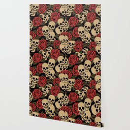 Roses and Skulls Wallpaper