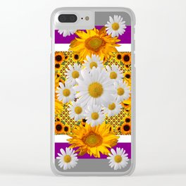 GREY & WHITE DAISIES FLORAL ABSTRACT & YELLOW SUNFLOWERS Clear iPhone Case