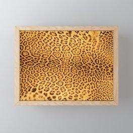 Brown Beige Leopard Animal Print Framed Mini Art Print