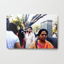 Mumbai Crowds - Fashion Street - 16 Metal Print