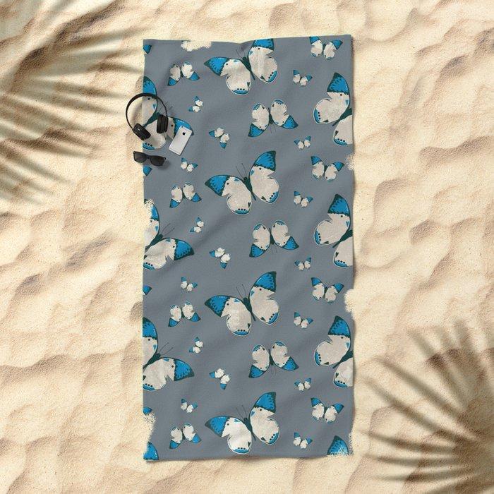 Spring Butterfly (Blue Pattern) Beach Towel