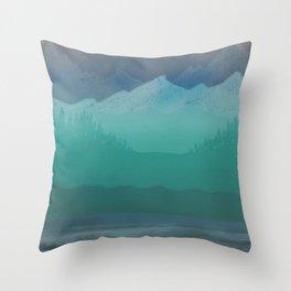 Ombre Mountainscape (Blue, Aqua) Throw Pillow