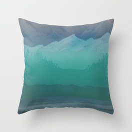 Ombre Mountainscape (Blue, Aqua) Throw Pillow