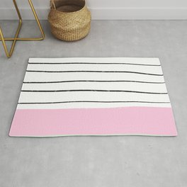 Modern geometric pastel pink green color block hand drawn stripes pattern Rug