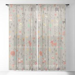Woodland animals Sheer Curtain