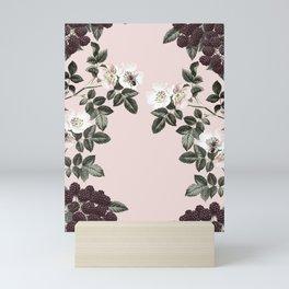 Bees + Blackberries on Pale Pink Mini Art Print