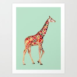 COLORED GIRAFFE Art Print