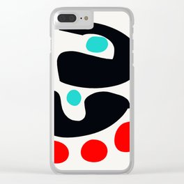 Abstract Art Minimalism Blue Black and Red Clear iPhone Case