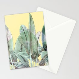 Bananas Leaves in Yellow Stationery Cards