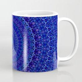 Blue Psychedelic Floral Mandala Coffee Mug