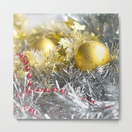 Christmas decorations in silver, gold and red Metal Print