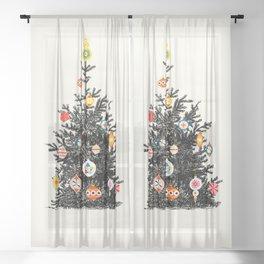 Retro Decorated Christmas Tree Sheer Curtain