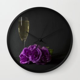 Champagne and Roses Wall Clock