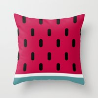 watermelon Throw Pillows featuring Watermelon by According to Panda