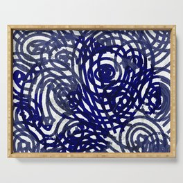 Evil Eye Navy_abstract digital painting Serving Tray
