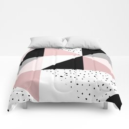 Geometrical pink black gray watercolor polka dots color block Comforters