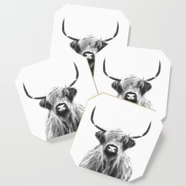 Black and White Highland Cow Portrait Coaster